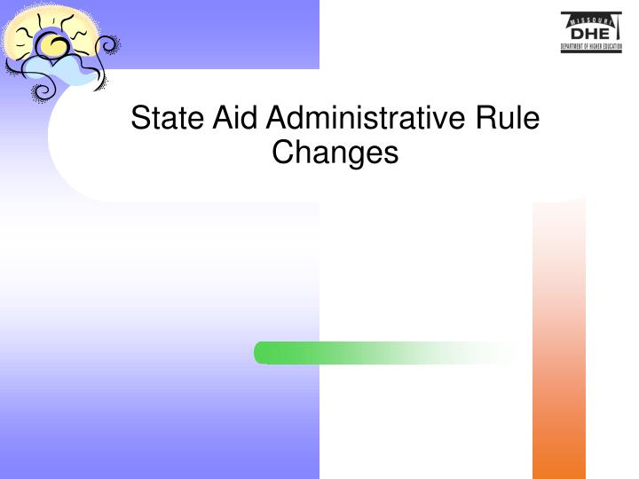 State Aid Administrative Rule Changes