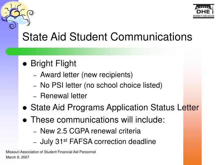 State Aid Student Communications