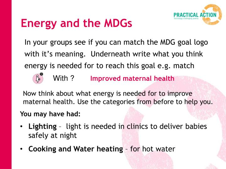 Energy and the MDGs