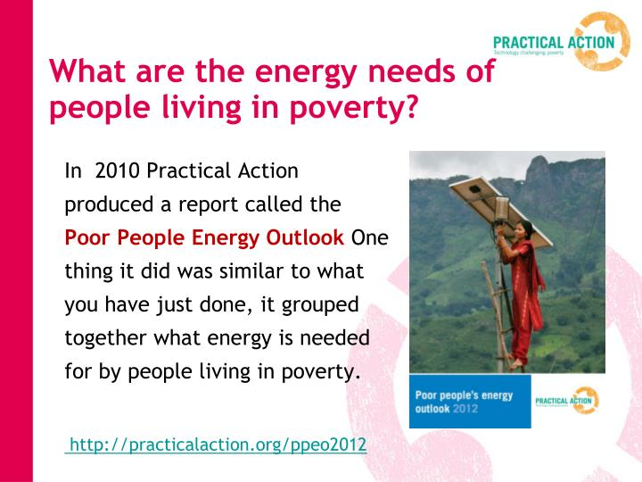 What are the energy needs of people living in poverty?