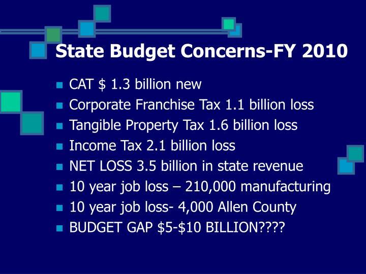 State Budget Concerns-FY 2010