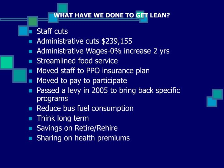 WHAT HAVE WE DONE TO GET LEAN?