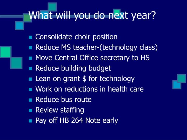 What will you do next year?