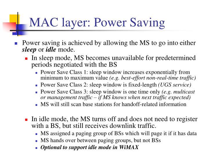 MAC layer: Power Saving