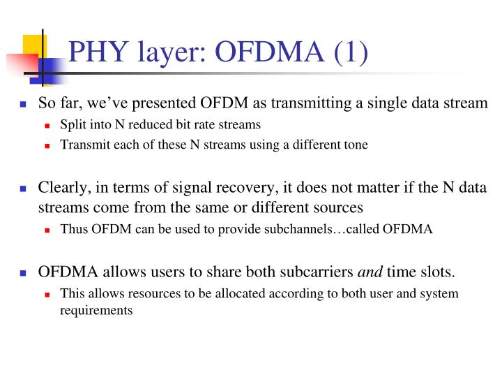 PHY layer: OFDMA (1)