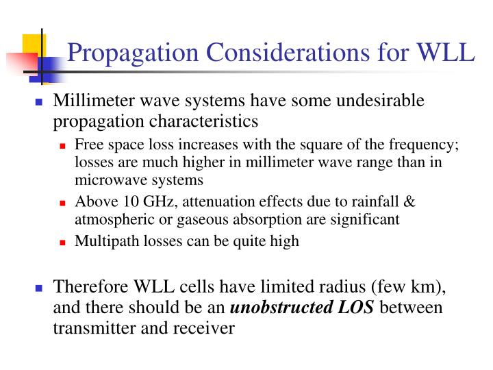 Propagation Considerations for WLL
