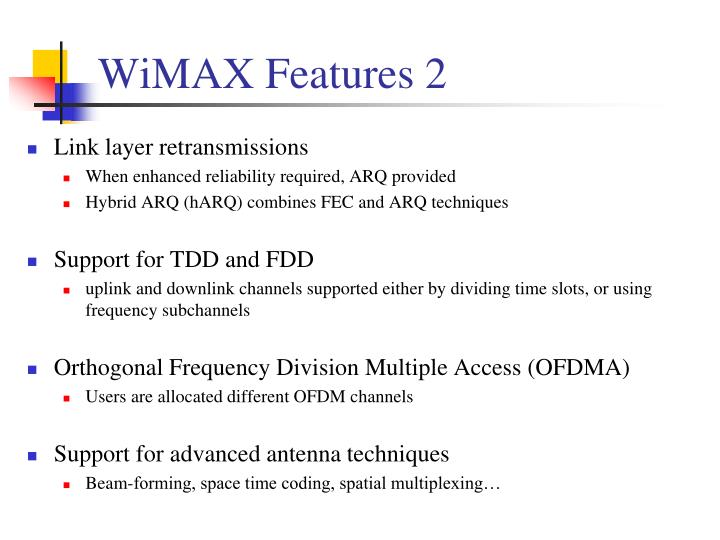 WiMAX Features 2