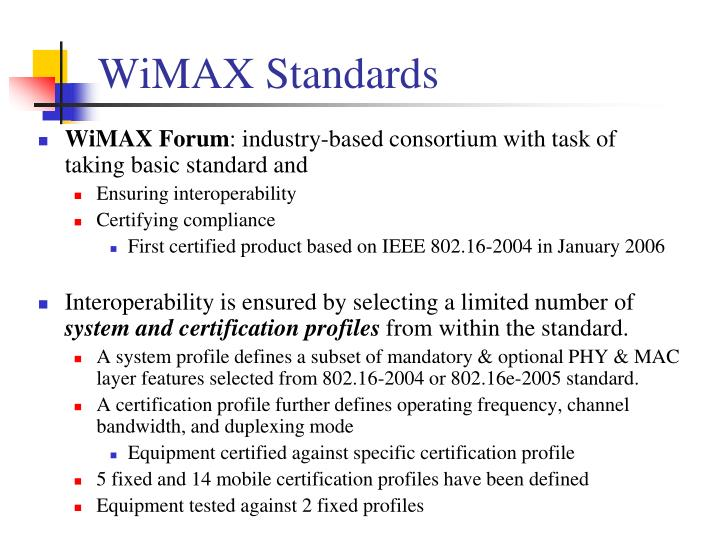 WiMAX Standards
