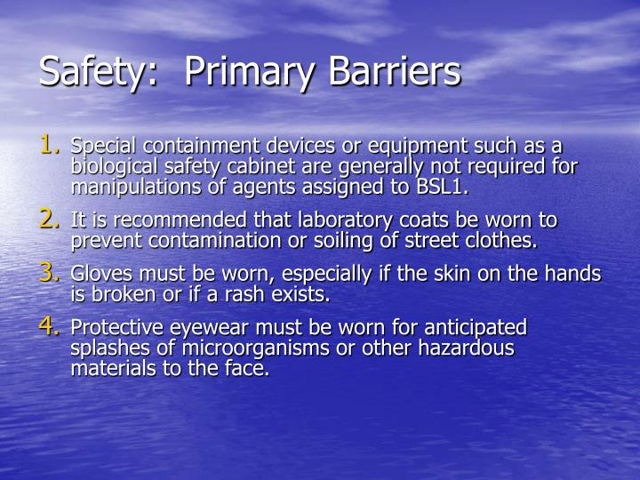 Safety:  Primary Barriers