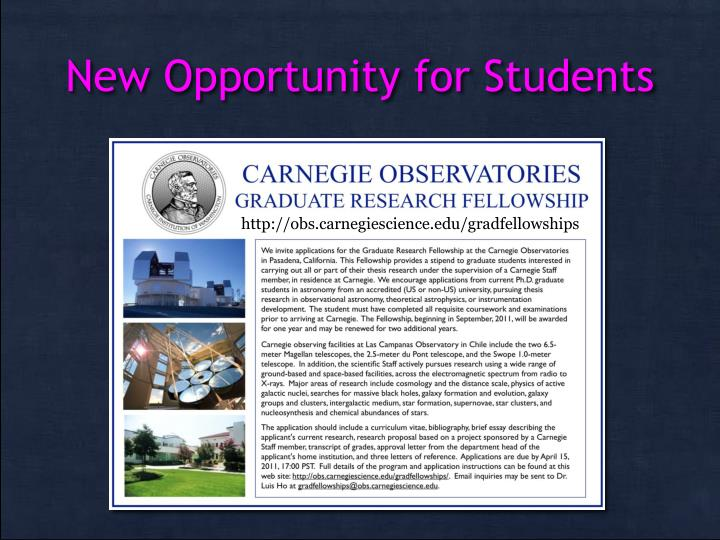 New Opportunity for Students