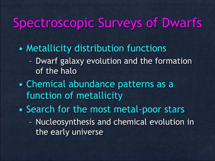 Spectroscopic Surveys of Dwarfs
