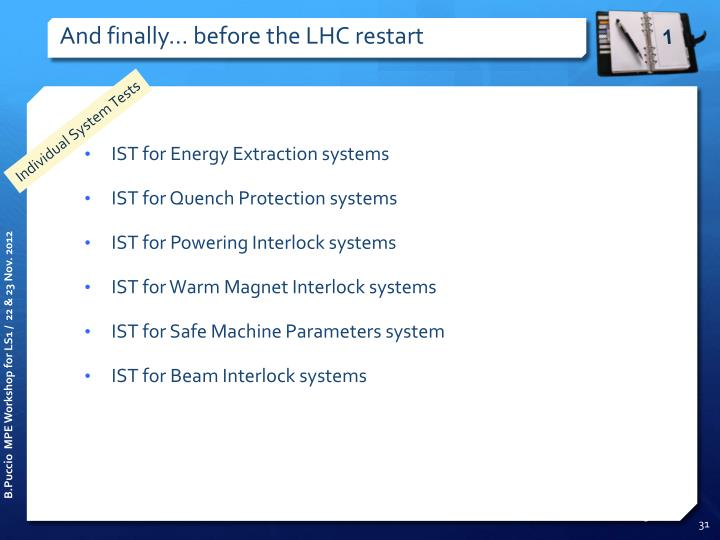 And finally... before the LHC restart
