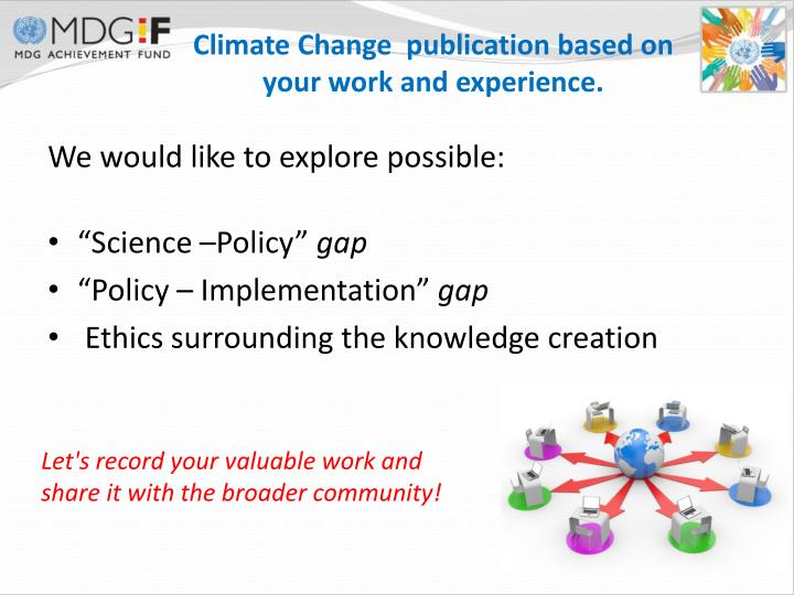 Climate Change  publication based on your work and experience.