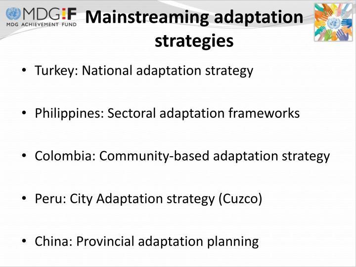 Mainstreaming adaptation strategies