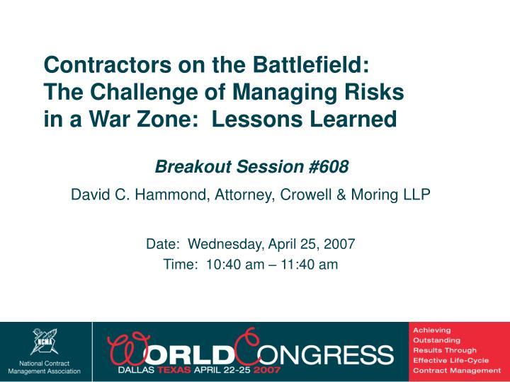 Contractors on the Battlefield: