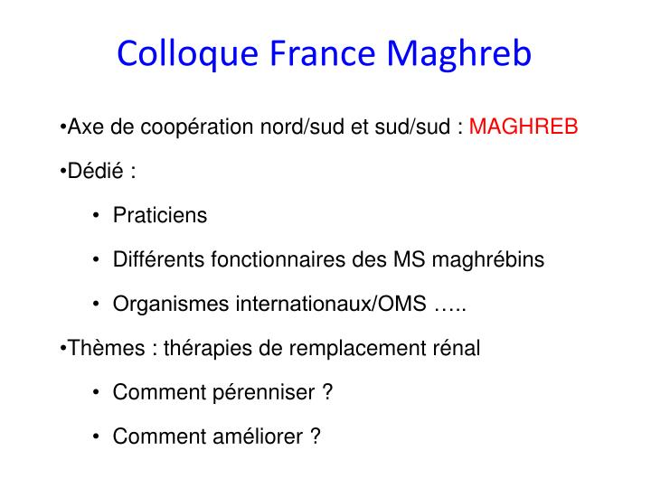 Colloque France Maghreb