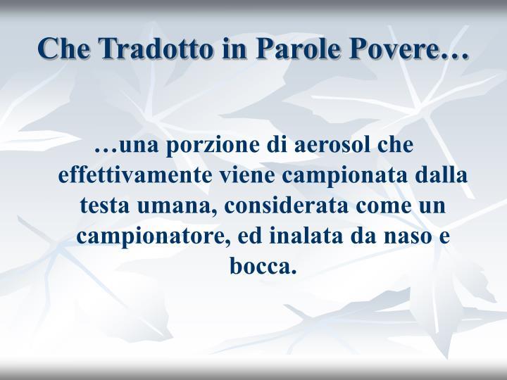 Che Tradotto in Parole Povere…