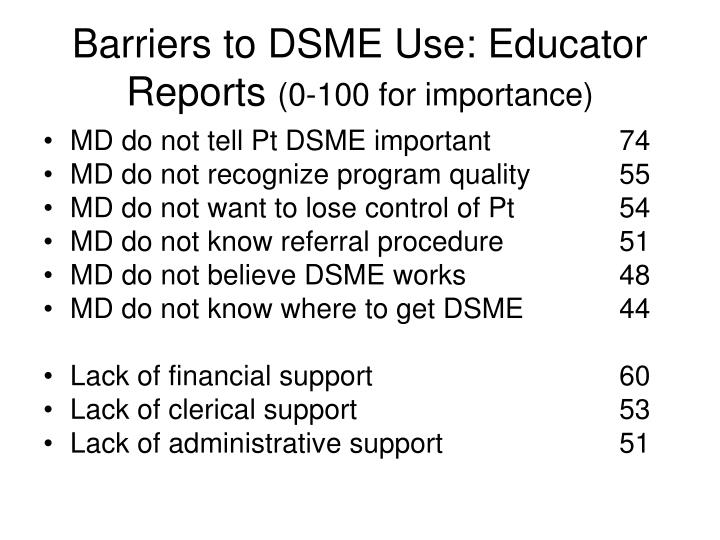 Barriers to DSME Use: Educator Reports