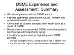 dsme experience and assessment summary