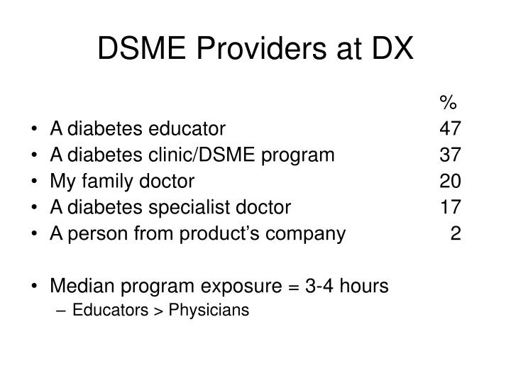 DSME Providers at DX