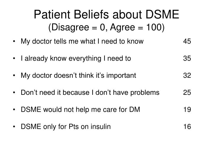 Patient Beliefs about DSME
