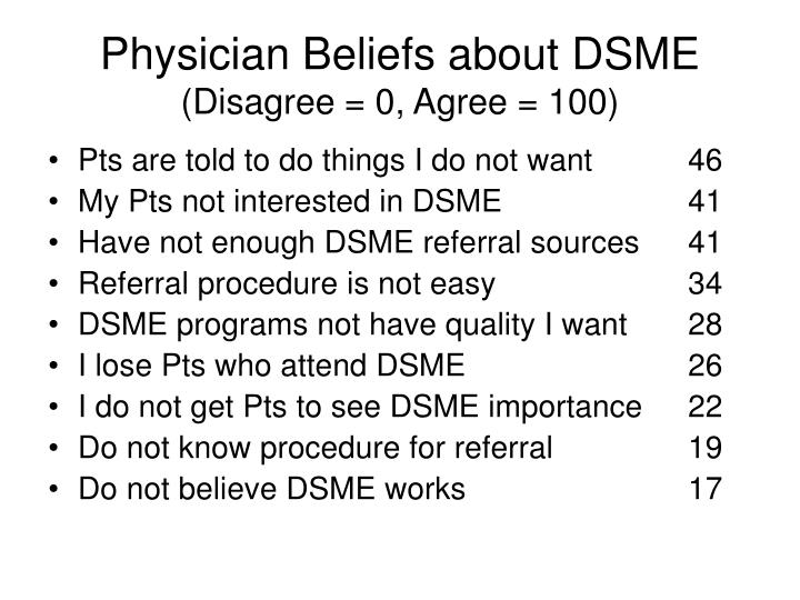 Physician Beliefs about DSME
