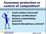 consumer protection or control of competition