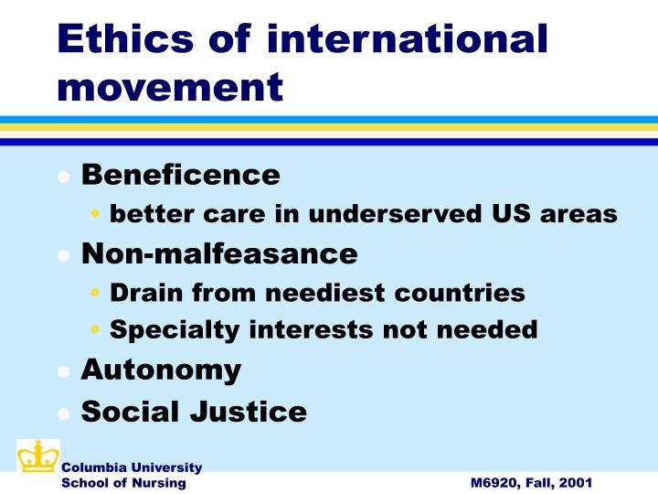 Ethics of international movement