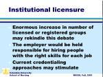 institutional licensure