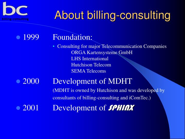 About billing consulting