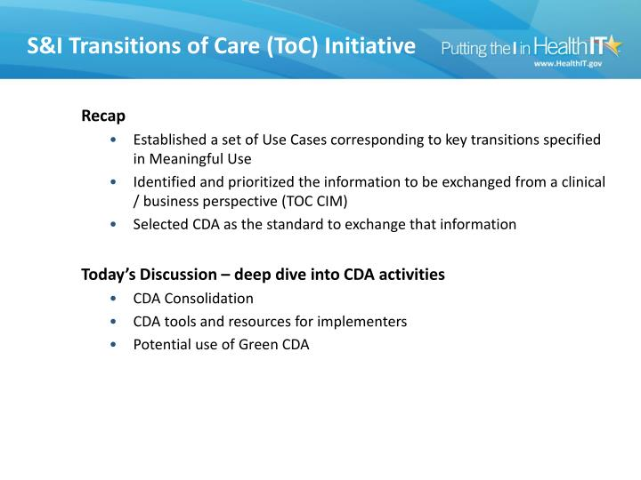 S& I Transitions of Care