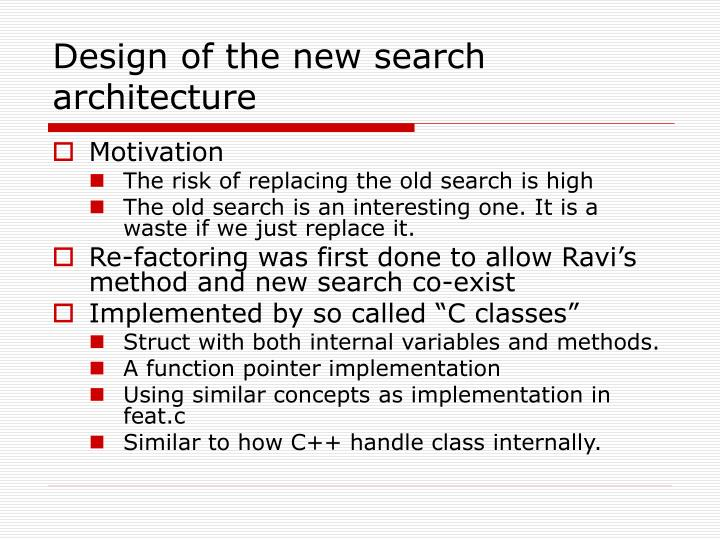 Design of the new search architecture