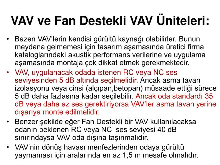 VAV ve Fan Destekli VAV Üniteleri: