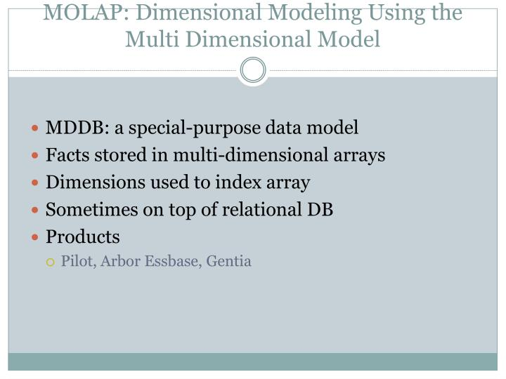 MOLAP: Dimensional Modeling Using the Multi Dimensional Model