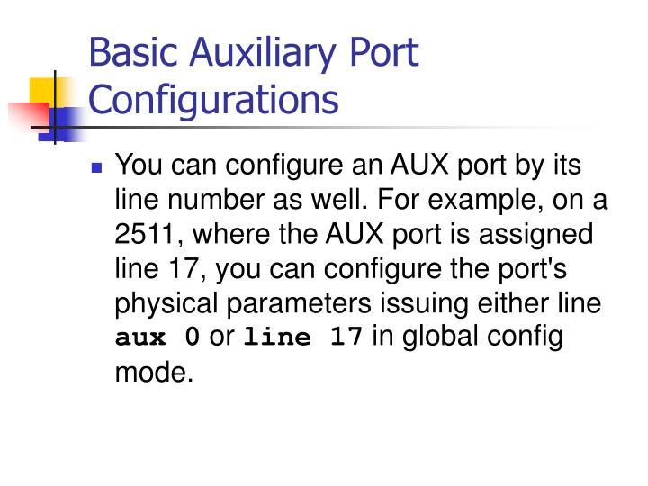 Basic Auxiliary Port Configurations