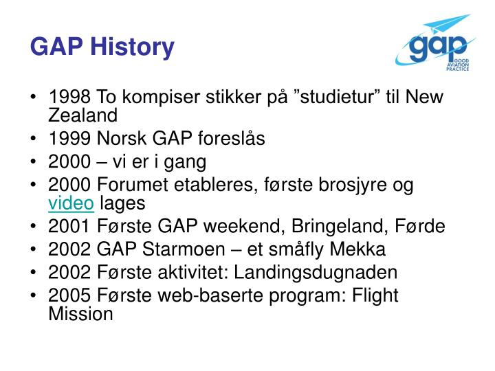 GAP History