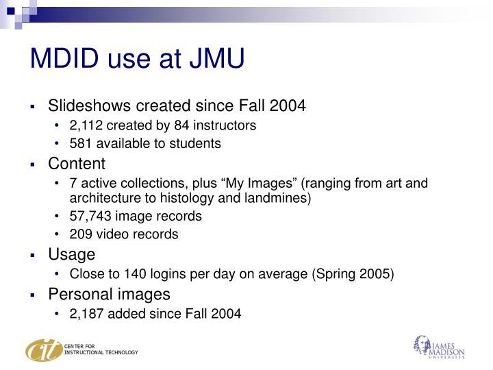 MDID use at JMU