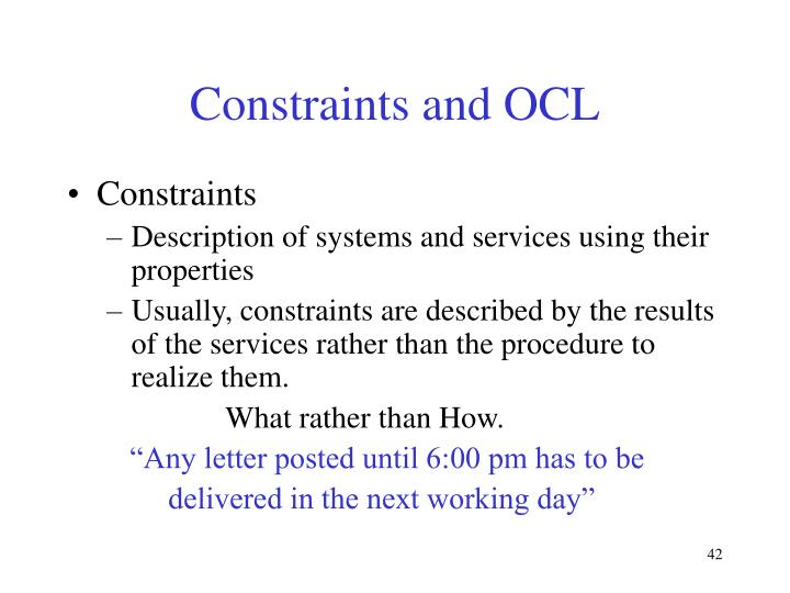 Constraints and OCL