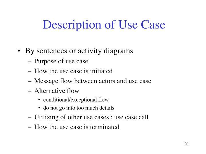 Description of Use Case