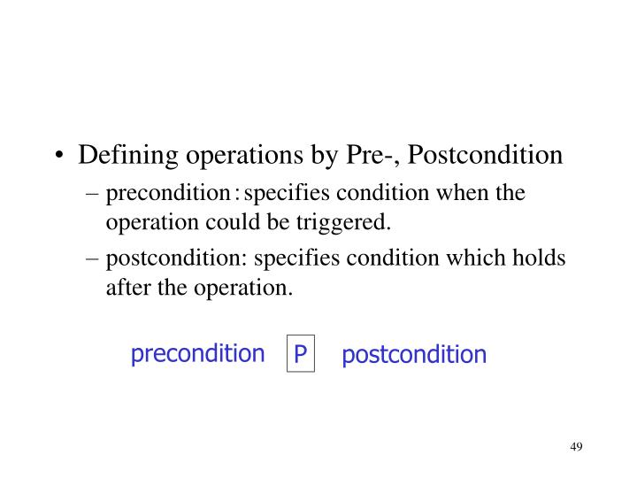 Defining operations by Pre-, Postcondition