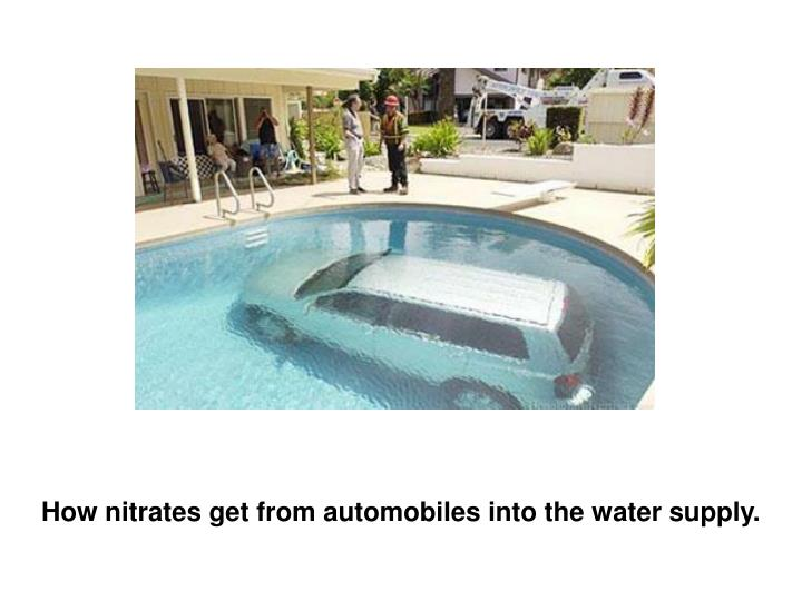 How nitrates get from automobiles into the water supply.