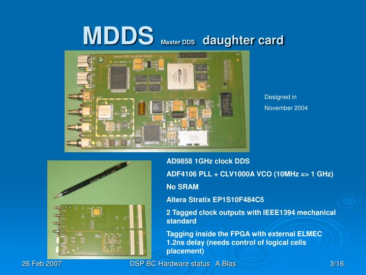 Mdds master dds daughter card