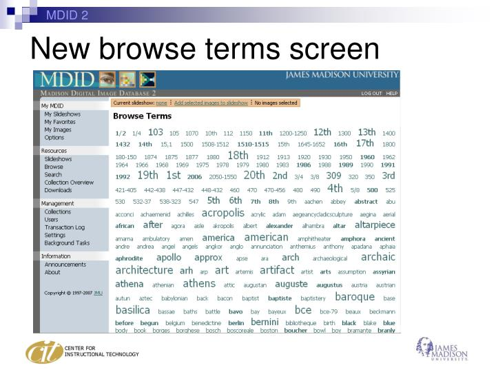 New browse terms screen