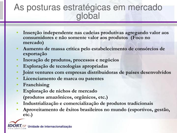 As posturas estratégicas em mercado global