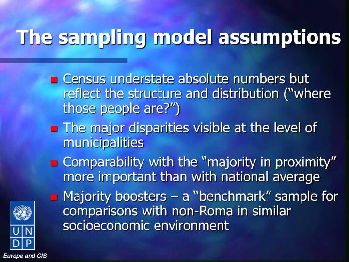 The sampling model assumptions