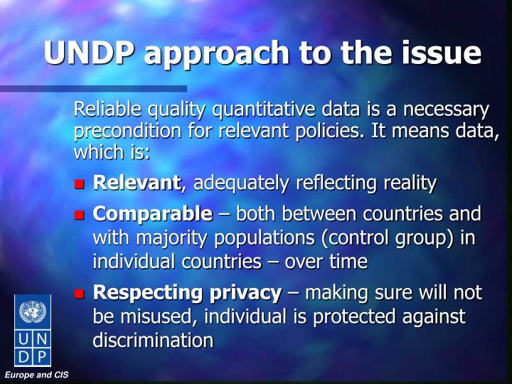 UNDP approach to the issue