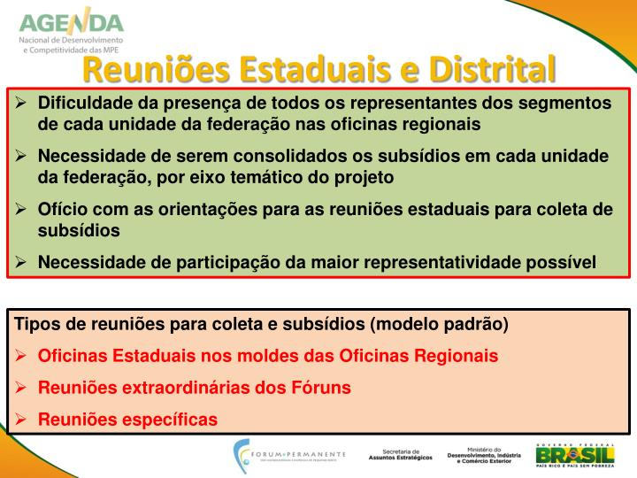 Reuniões Estaduais e Distrital