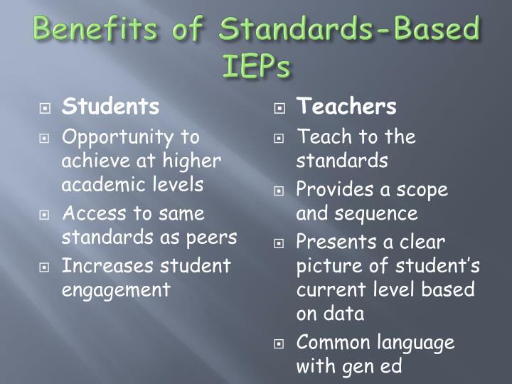 Benefits of Standards-Based IEPs