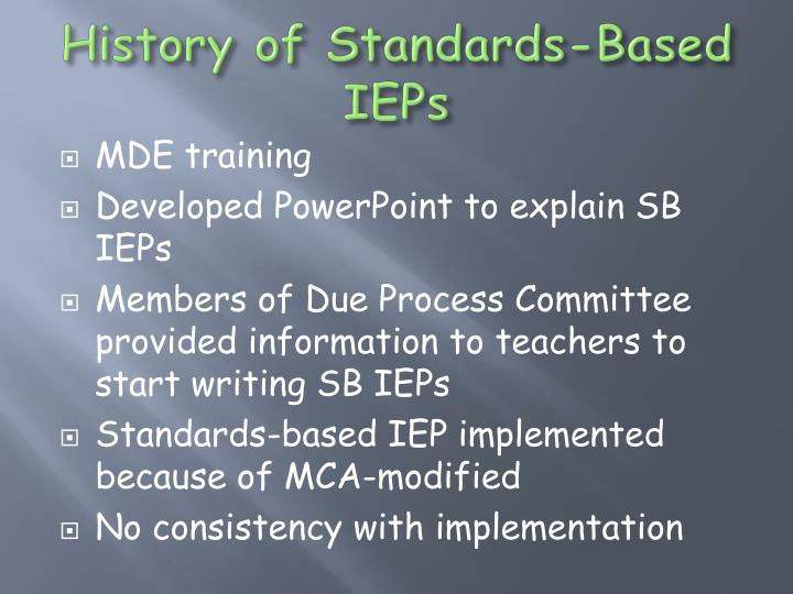 History of Standards-Based IEPs