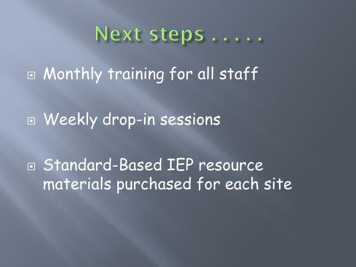 Next steps . . . . .